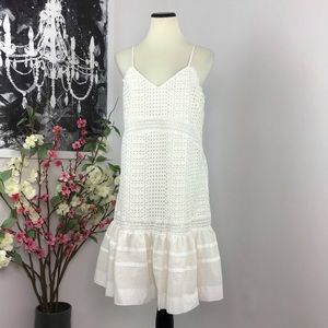 NWT J Crew Ruffle Hem Eyelet Dress